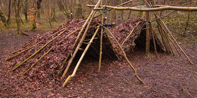 Debris shelters are a simple but time consuming way of creating shelters in woodland. Such shelters should always be dismantled after use.