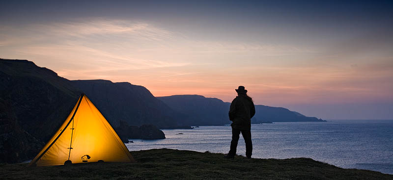 A wild camp on the coast of Scotland.