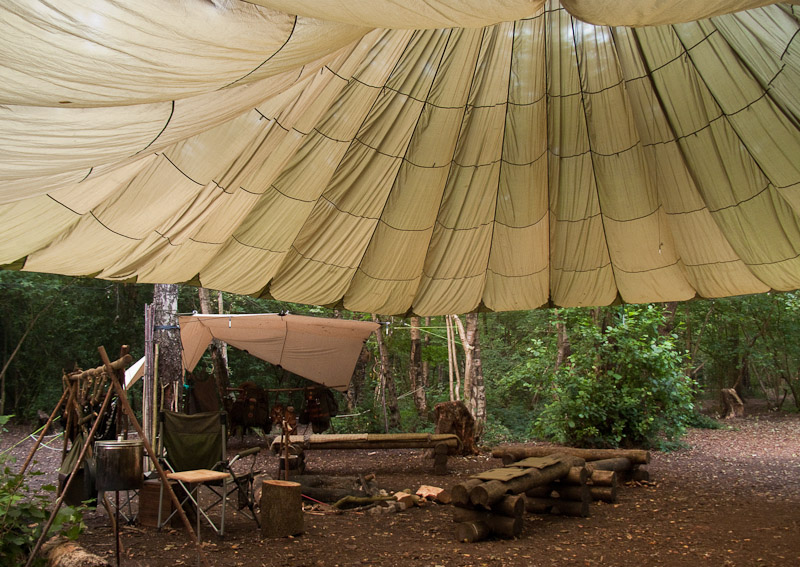 Parachute canopy shelter in day