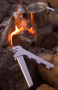 If you are boiling up for a cup of tea why boil more than a cupful. A pot grip is a useful tool when campfire cooking.
