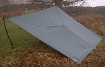 Rigging a tarp as a simple lean to with a tree and a pole.
